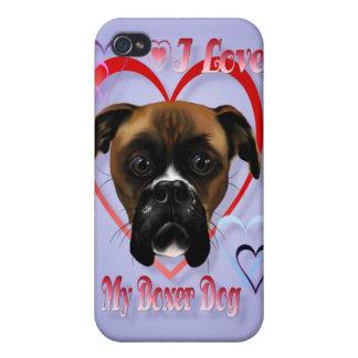 Amo mi perro del boxeador iPhone 4 carcasas