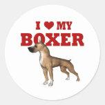 Amo mi perro del boxeador pegatina redonda