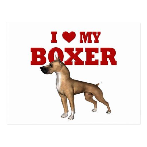 Amo mi perro del boxeador postal