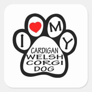 Amo mi perro del Corgi Galés de la rebeca Pegatina Cuadrada