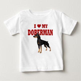 Amo mi perro del Doberman Playera Para Bebé