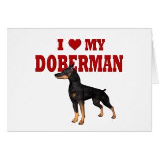 Amo mi perro del Doberman Tarjeta De Felicitación