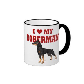 Amo mi perro del Doberman Taza De Dos Colores