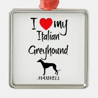 Amo mi perro del galgo italiano adorno navideño cuadrado de metal