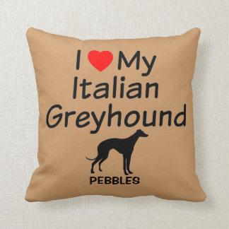 Amo mi perro del galgo italiano cojín decorativo