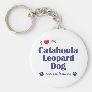 Amo mi perro del leopardo de Catahoula (el perro f Llavero Redondo Tipo Pin