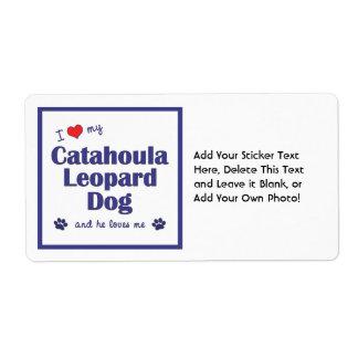 Amo mi perro del leopardo de Catahoula (el perro m Etiqueta De Envío
