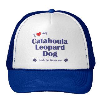 Amo mi perro del leopardo de Catahoula (el perro m Gorras De Camionero