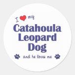 Amo mi perro del leopardo de Catahoula (el perro Pegatina Redonda
