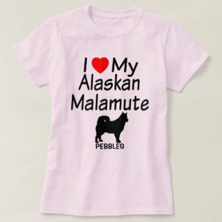Amo mi perro del Malamute de Alaska Remera