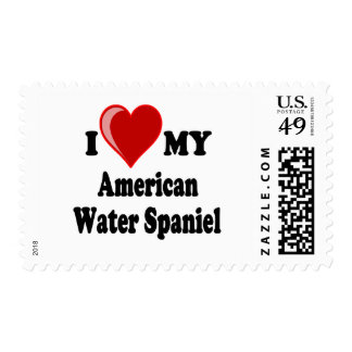 Amo mi perro del perro de aguas de agua americana sellos