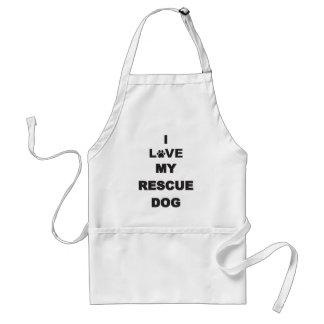Amo mi perro del rescate delantal