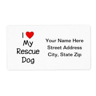 Amo mi perro del rescate etiquetas de envío