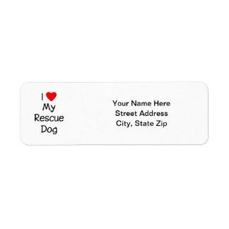Amo mi perro del rescate etiqueta de remitente