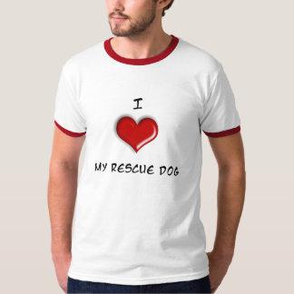 ¡Amo mi perro del rescate! Playera