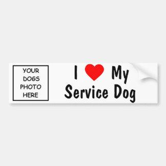 Amo mi perro del servicio etiqueta de parachoque