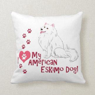 ¡Amo mi perro esquimal americano! Cojín
