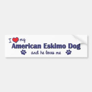 Amo mi perro esquimal americano (el perro masculin pegatina para auto