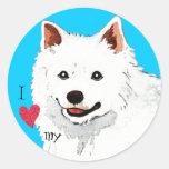 Amo mi perro esquimal americano etiqueta redonda