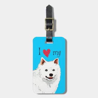 Amo mi perro esquimal americano etiquetas para equipaje