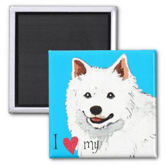 Amo mi perro esquimal americano imán cuadrado