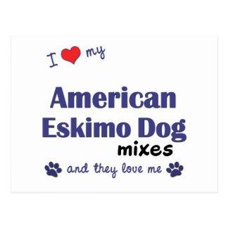 Amo mi perro esquimal americano me mezclo (los tarjetas postales