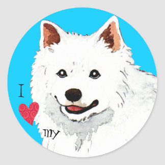 Amo mi perro esquimal americano pegatina redonda