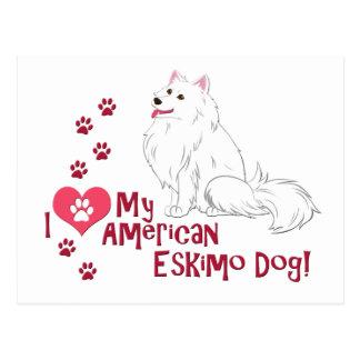 ¡Amo mi perro esquimal americano! Tarjeta Postal