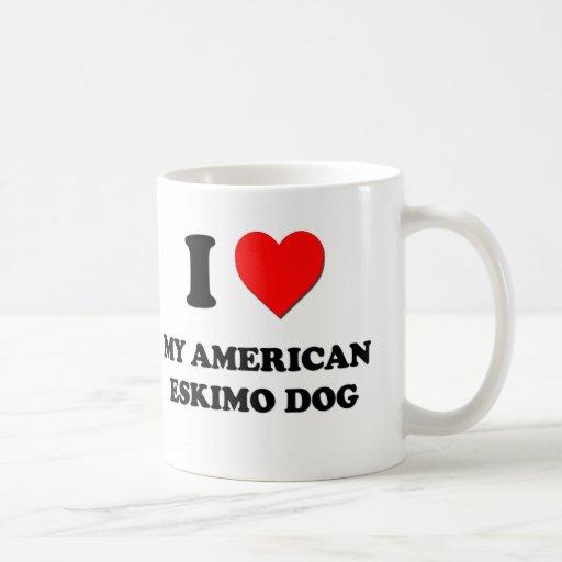 Amo mi perro esquimal americano tazas