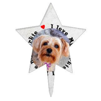 Amo mi perro femenino de Yorkie Yorkshire Terrier Figuras Para Tartas