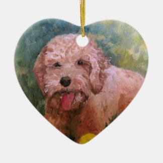 Amo mi perro Oranament Goldendoodle /Labradoodle. Adorno Navideño De Cerámica En Forma De Corazón