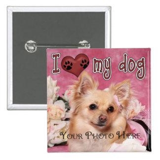 ¡Amo mi perro Parte inferior de encargo Pin