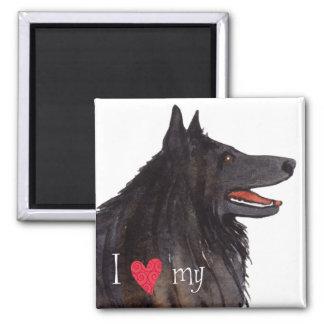 Amo mi perro pastor belga imán cuadrado