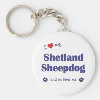 Amo mi perro pastor de Shetland el perro masculin Llaveros