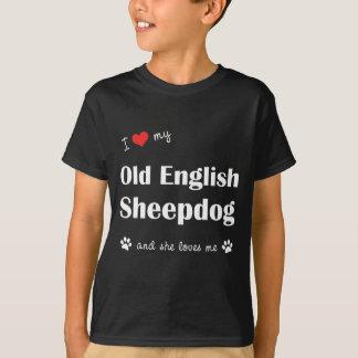 Amo mi perro pastor inglés viejo (el perro remeras