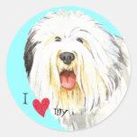 Amo mi perro pastor inglés viejo etiqueta redonda