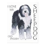 Amo mi perro pastor inglés viejo postal