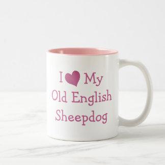 Amo mi perro pastor inglés viejo taza de dos tonos