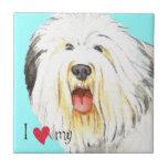 Amo mi perro pastor inglés viejo teja  ceramica