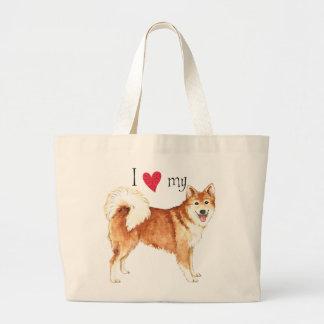 Amo mi perro pastor islandés bolsa tela grande