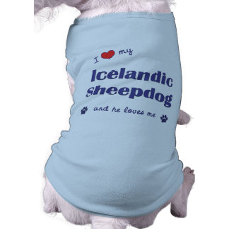 Amo mi perro pastor islandés (el perro masculino) playera sin mangas para perro