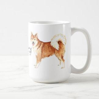 Amo mi perro pastor islandés taza básica blanca