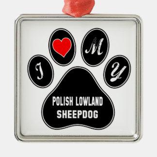 Amo mi perro pastor polaco de la tierra baja adorno navideño cuadrado de metal