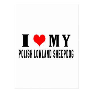 Amo mi perro pastor polaco de la tierra baja postales