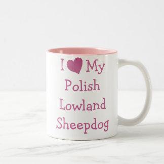 Amo mi perro pastor polaco de la tierra baja taza dos tonos