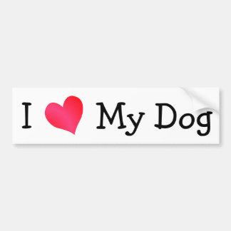 Amo mi perro pegatina de parachoque