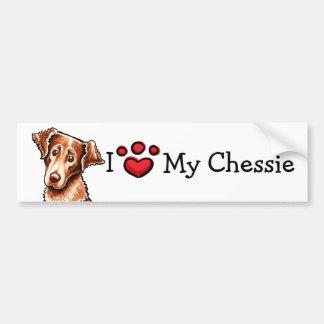 Amo mi perro perdiguero de bahía de Chesapeake de Pegatina Para Auto