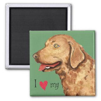 Amo mi perro perdiguero de bahía de Chesapeake Imán Cuadrado
