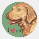 Amo mi perro perdiguero de bahía de Chesapeake Etiquetas Redondas