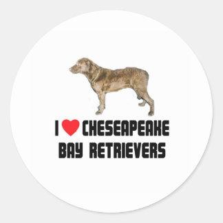Amo mi perro perdiguero de bahía de Chesapeake Pegatina Redonda